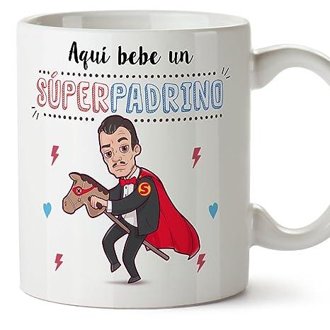 Mugffins Tazas para Padrino – AQUÍ Bebe UN Super Padrino – Taza Desayuno 350 ML Idea