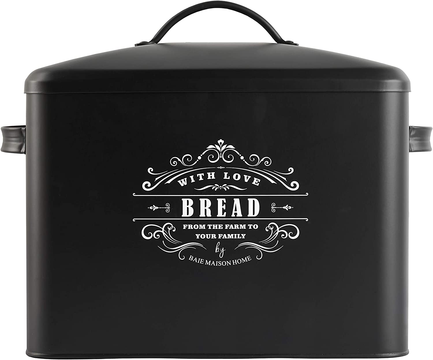 Extra Large Black Bread Box - Bread Boxes for Kitchen Counter Holds 2+ Loaves for All Your Bread Storage - Bread Container Counter Organizer to Suit Farmhouse Kitchen Decor, Vintage Kitchen, Rustic