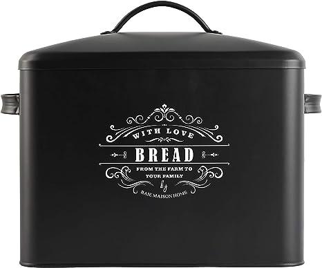 color blanco y negro negro Panera de acero blanco y negro para almacenamiento de pan
