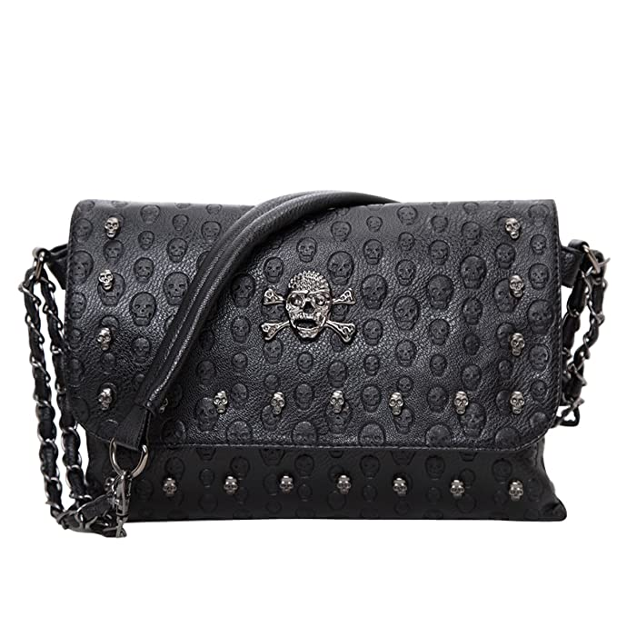 69f56fe4c0 Image Unavailable. Image not available for. Color  E-Clover Vintage Skull  Envelope Leather Crossbody Shoulder Bag Purse Womens Handbag Clutch