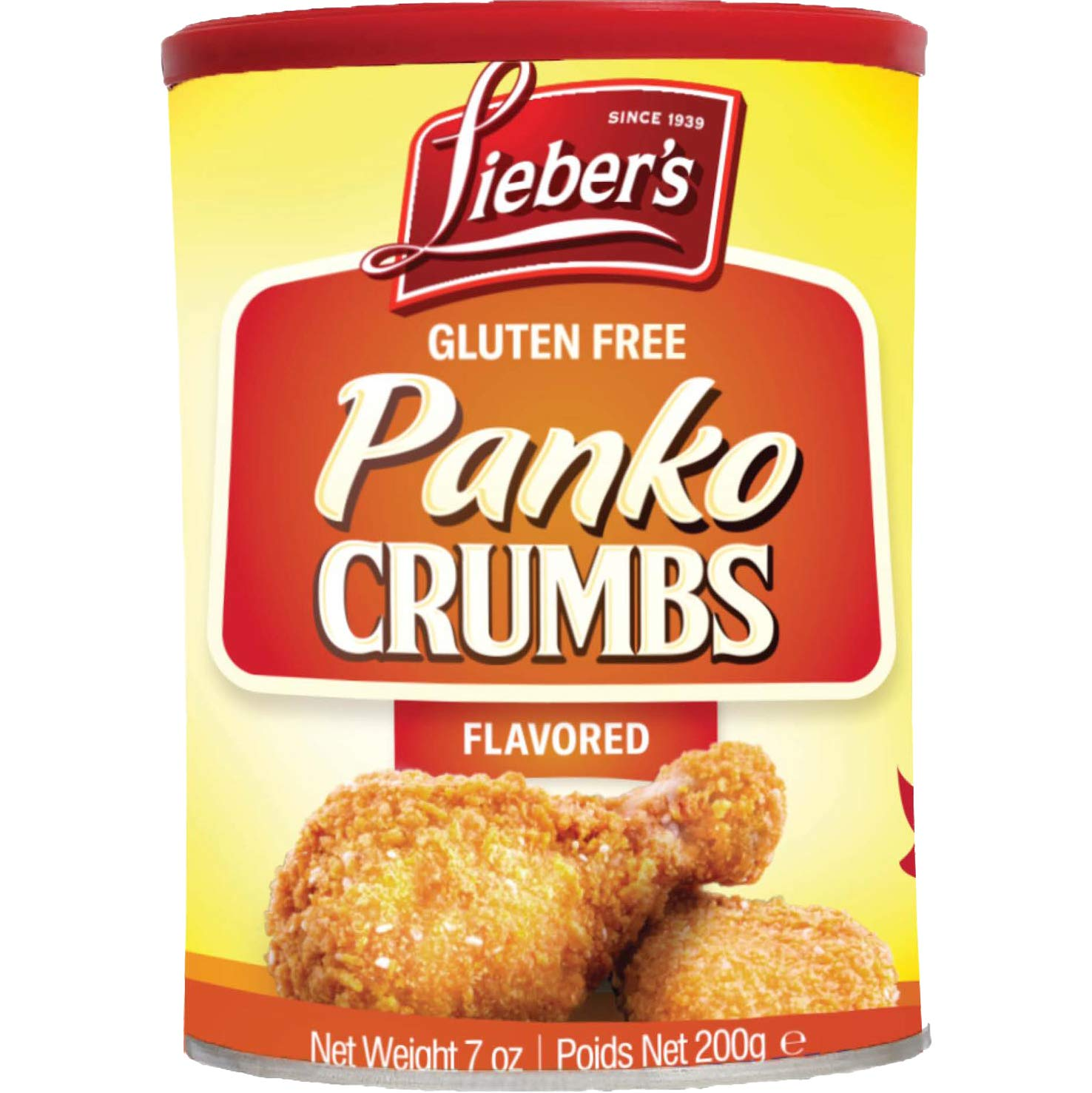 Lieber's Panko Crumbs Flavored, Gluten Free, Kosher For Passover, 7 Ounce Canister (Single)