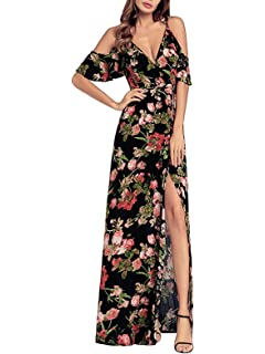 8e6572da9f SHIBEVER Women's Summer Floral Maxi Dress Bohemian High Slit Cold Shoulder  Wrap Long Dresses