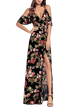 28d5b961a1c80 SHIBEVER Women s Summer Floral Maxi Dress Boho High Slit Cold Shoulder Wrap  Long Dresses Black 2XL