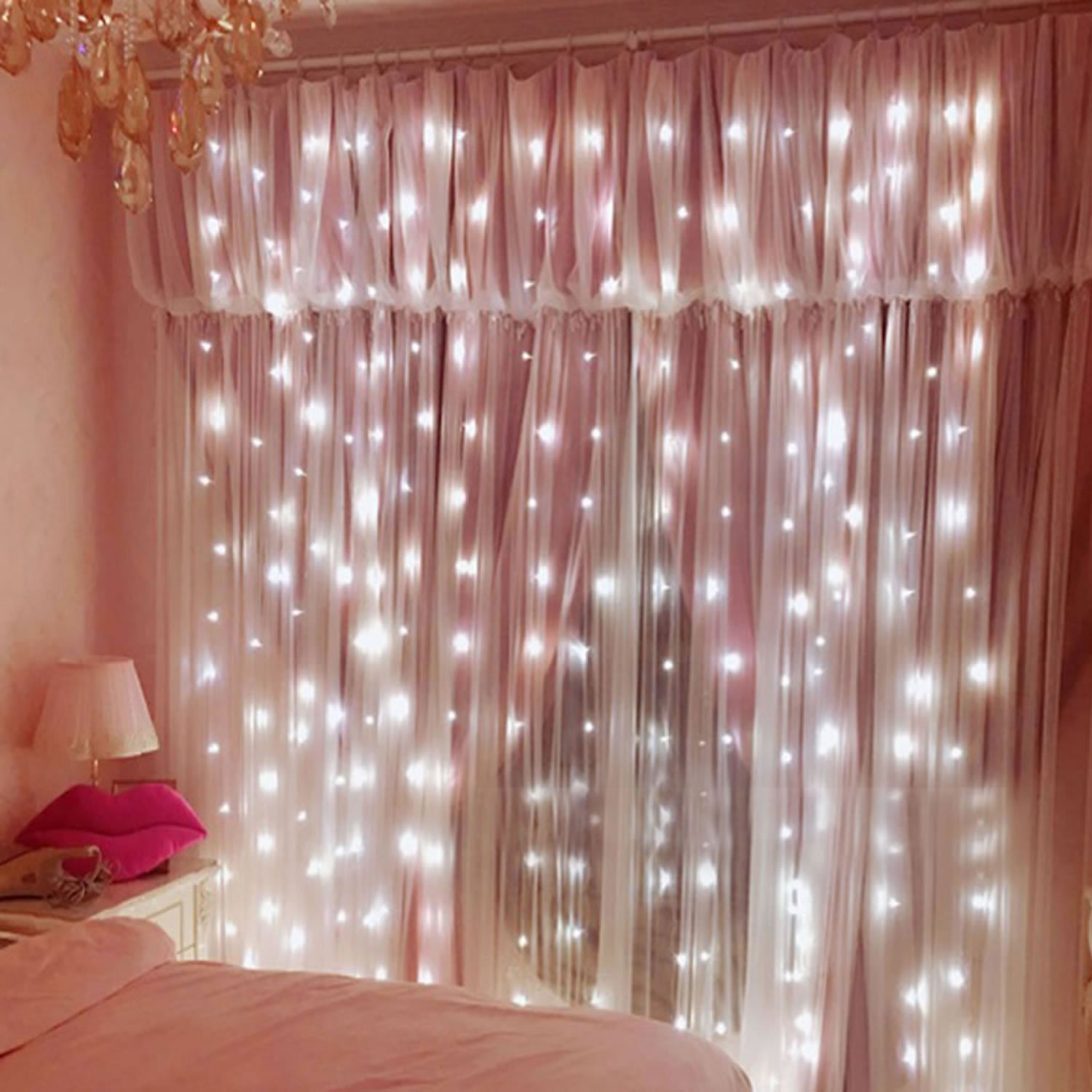 Led Window Curtain Icicle Lights, 1000LEDs 32.7x9.8ft/10mx3m Window Curtain String Lights with Contorller for Party/Wedding/ Home Patio/Lawn Garden (White)