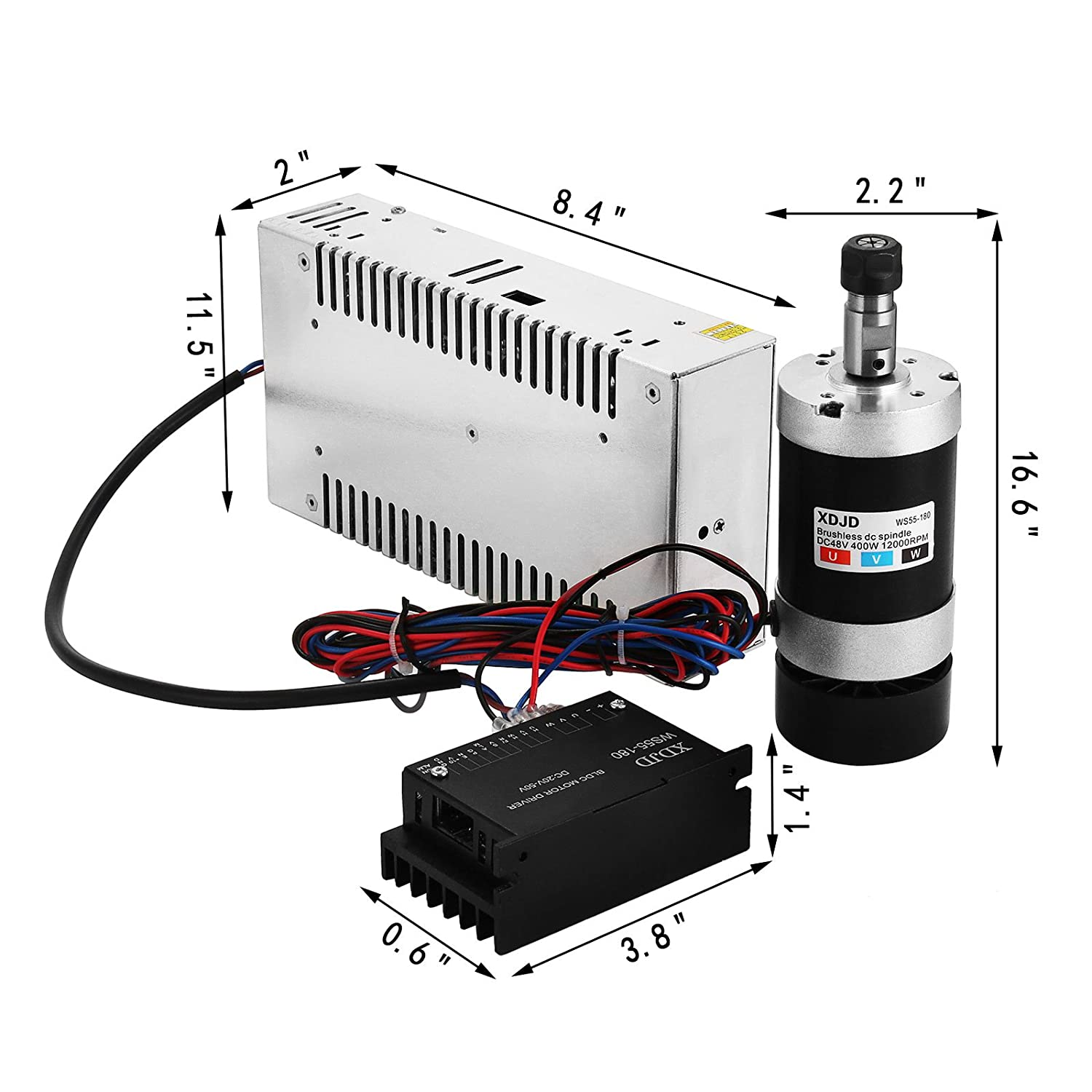 Hopopular Cnc Milling Spindle Kit 400w Brushless Dc Bldc Machine Wiring Schematic Motor 480w Switching Power Supply Speed Controller Set