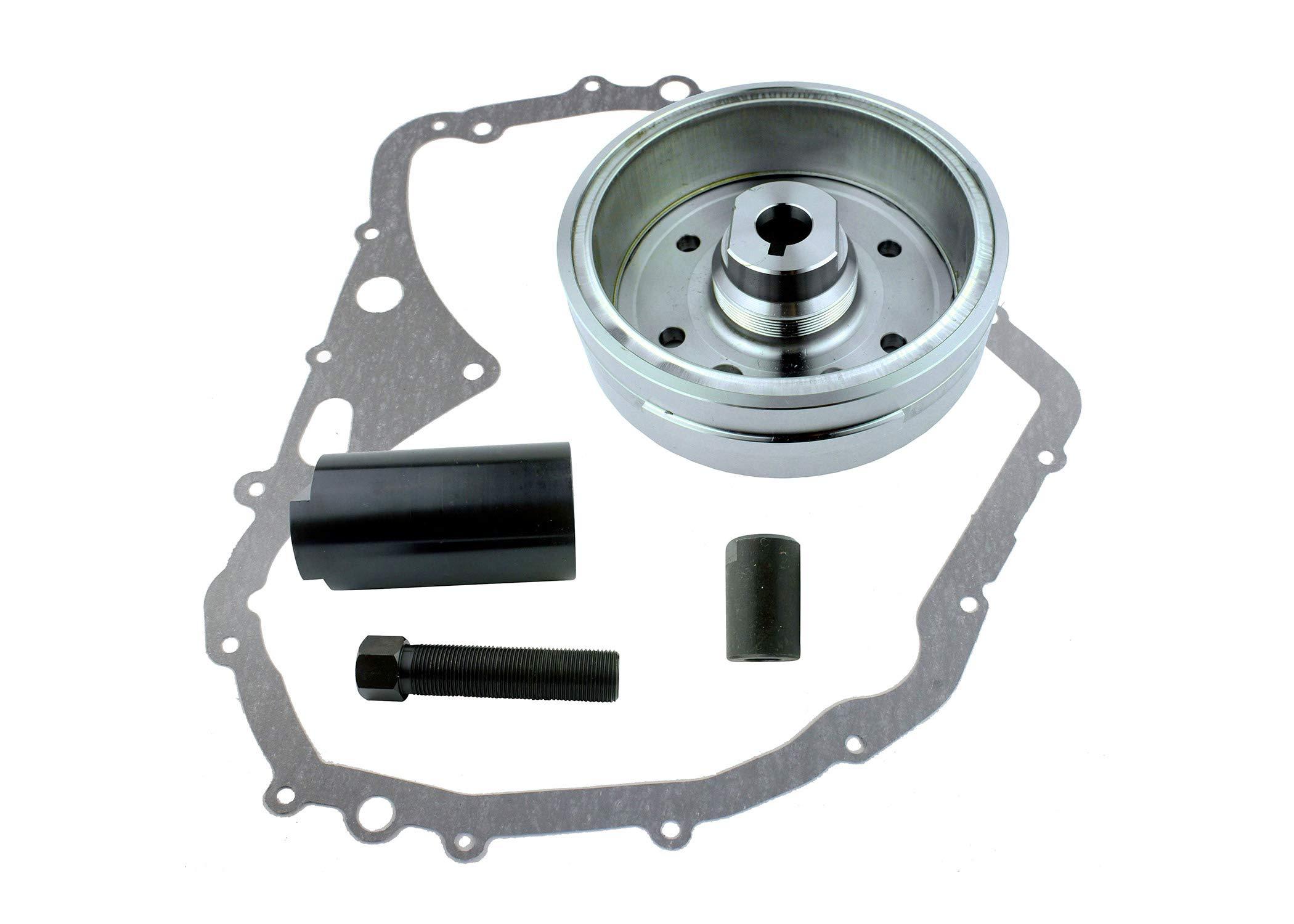 Kit Improved Flywheel + Flywheel Puller + Gasket For Suzuki LTF 400 Eiger 2002-2007 Arctic Cat 400 Manual 2003 2004 2005 2006 2007 2008