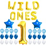 WILD ONES BIRTHDAY DECORATION KIT - Blue and White Balloons Set, Perfect for 1st Bday Party Supplies, Girl or Boy, Number 1 Mylar, Latex Ballon