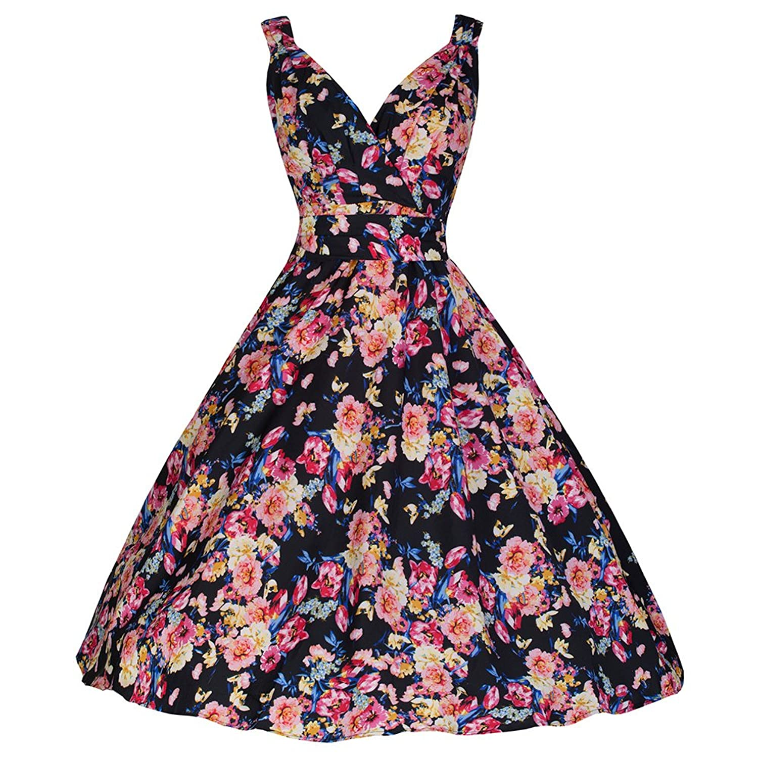 Pretty Kitty Fashion 50s Black Multi Floral Swing Dress