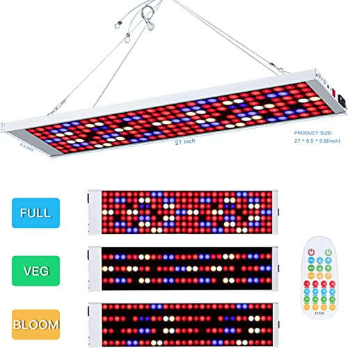Led Grow Light,600W 196 Led Growing Lamp Remote Control and time Setting dimmable Full Spectrum Indoor Plants Seedling Greenhouse Hydroponic Plants from Seeding to Harvest, Multiple Panels Can Be Co
