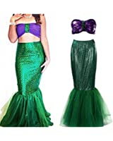 Rachel Charm Women's Mermaid Costume Lingerie Halloween Cosplay Fancy Sequins Long Tail Dress With Asymmetric Mesh Panel