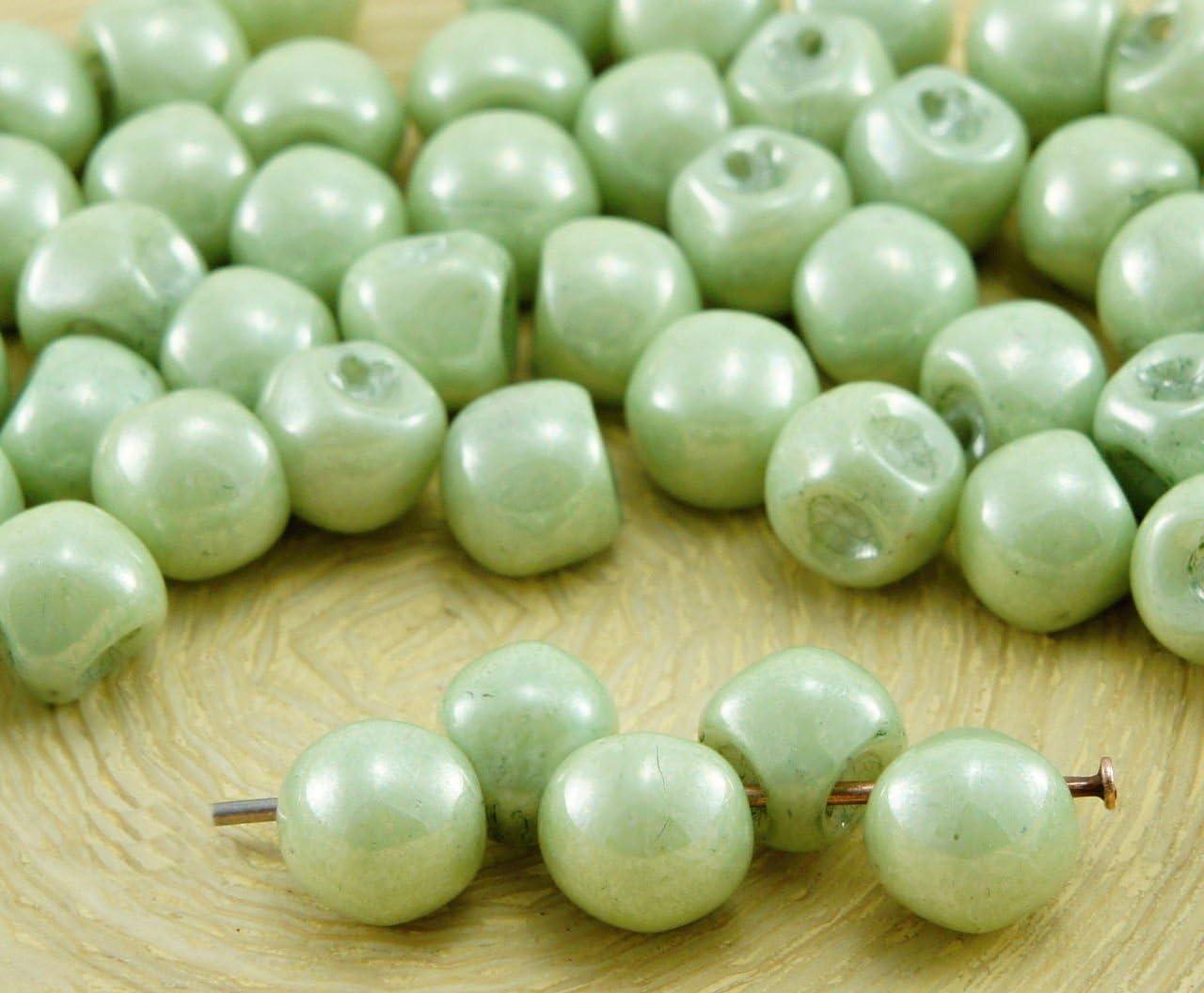 30pcs Champignon Bouton Tchèque Perles De Verre 6 mm x 5 mm