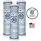 GE GXWH04F, GXWH20F, GXWH20S & GXRM10 Compatible Water Filter, KleenWater KW2510CB Carbon Block Replacement Cartridge, Set of 3, Includes O-Ring.
