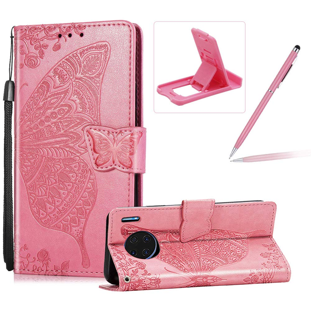 Strap Leather Case for Huawei Mate 30 Pro,Wallet Cover for Huawei Mate 30 Pro,Herzzer Classic 3D Grey Butterfly Flower Print Relief Magnetic Stand Case with Soft TPU