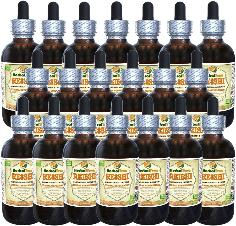 Reishi Mushroom Ganoderma Lucidum Tincture, Organic Dried Mushrooms Liquid Extract Brand Name HerbalTerra, Proudly Made in USA 20×4 fl.oz 20×120 ml