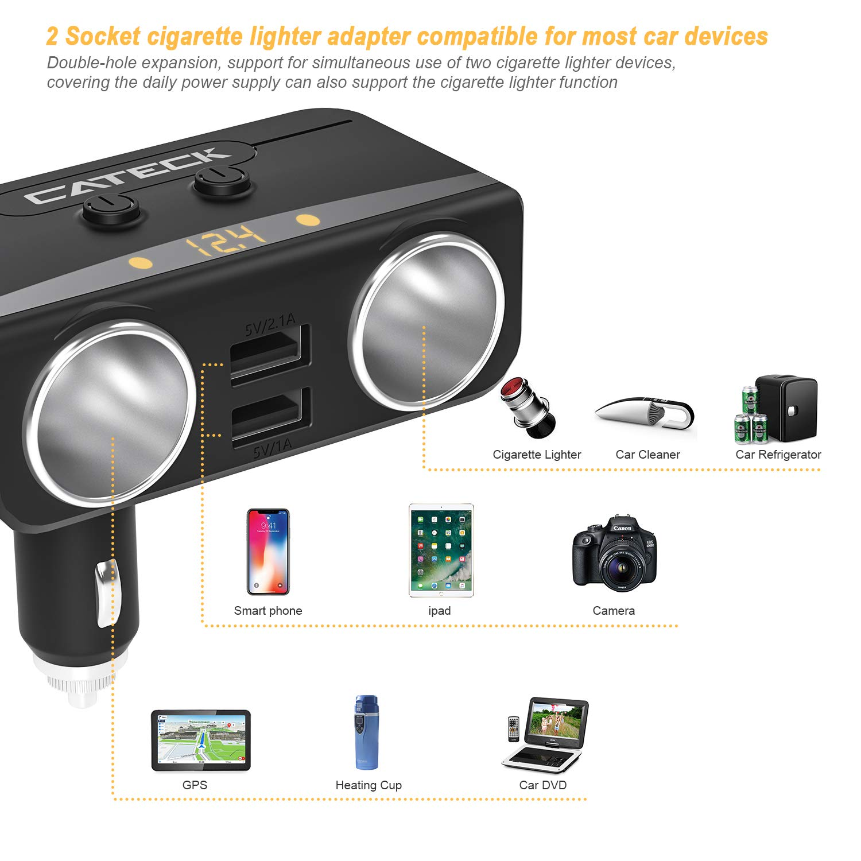 Adaptador USB Doble Divisor 2 Cigarrillos Encendedor 12V//24V Adaptador de energ/ía para iPhones Cargador de Coche Cateck Quick Charge 3.0 Dashcam DVR tel/éfonos Android etc. iPad GPS