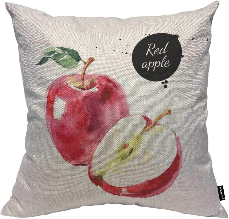 HOSNYE Red Apples Cotton Linen Throw Pillow Case Isolated Eco Natural Food Fruit on White Background Pillow Cushion Covers Home Sofa Decorative 18 X 18 Inch