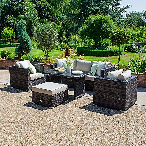 Nova - Juego de 6 muebles de jardín de ratán para exteriores ...