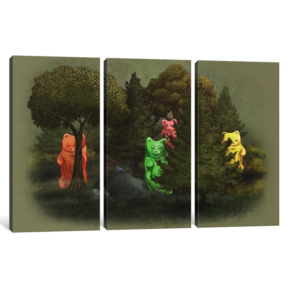 60 by 40//1.5 Deep iCanvasART 3 Piece Wild Jelly Bears Canvas Print by Terry Fan