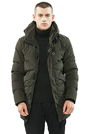3c95348387 Amazon.com: Men's Mid-Length Quilted Puffer Jacket Hooded Parka Down ...