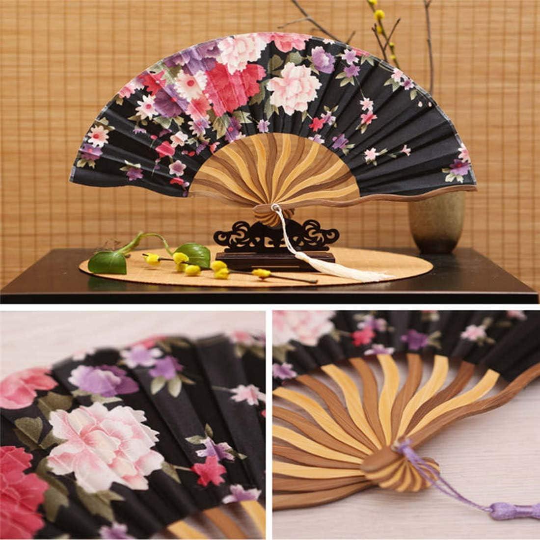 AllRing Handfächer Faltfächer Seide Bambus Faltfächer Blumendruck Ventilatoren Handventilator für Hochzeitsgeschenk Party Gefälligkeiten Sommer kühl (Stil 1) Stil 8