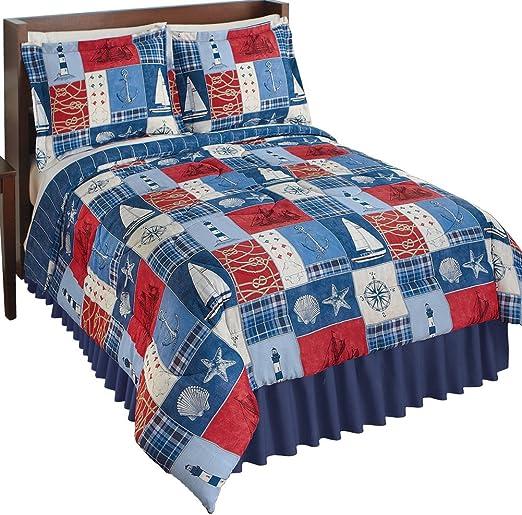 Reversible Nautical Patchwork Comforter Set Bedroom Décor by Collections Etc