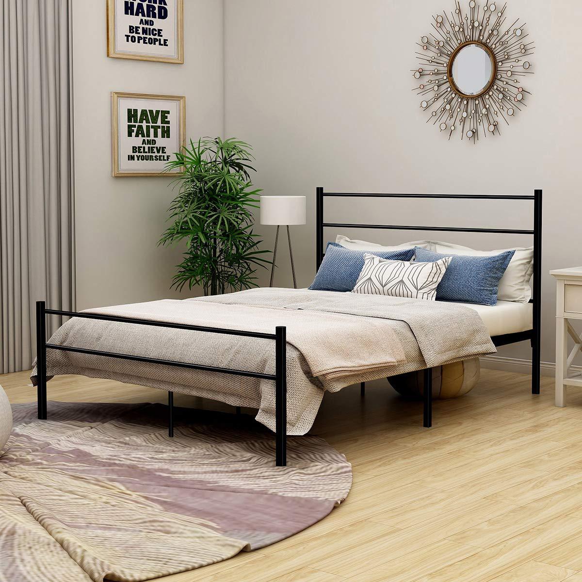Metal Bed with Headboard Mattress Foundationt Platform Frame Metal Slat Black Full Size by DUMEE