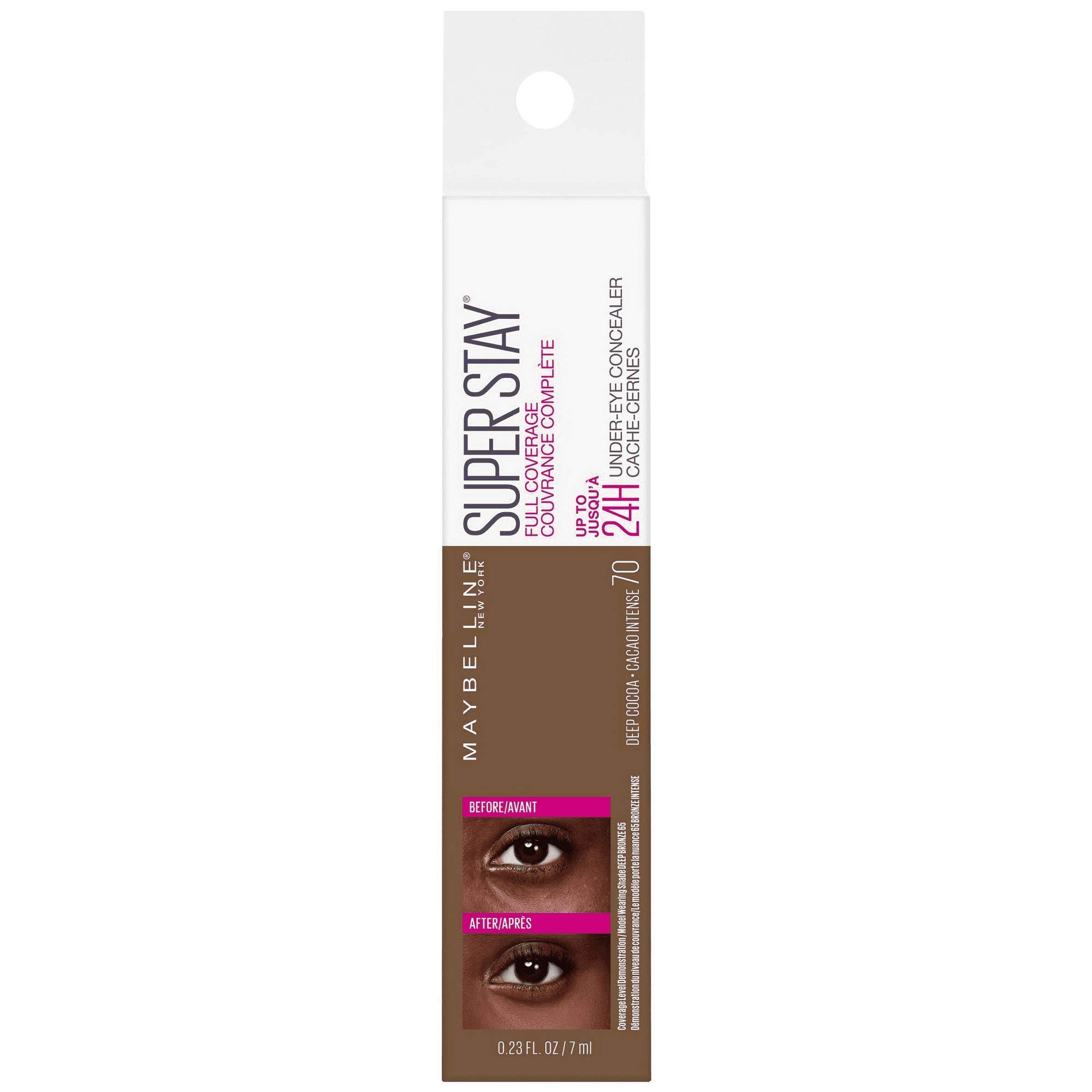 Super Stay Full Coverage Long Lasting Under-Eye Concealer, 70 Deep Cocoa, 0.23 fl oz (Pack of 2)