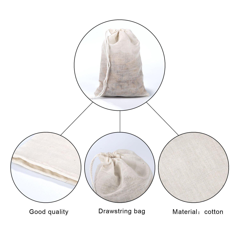 Pangda 100 Pieces Drawstring Cotton Bags Muslin Bags (4 x 6 Inches) by Pangda (Image #3)