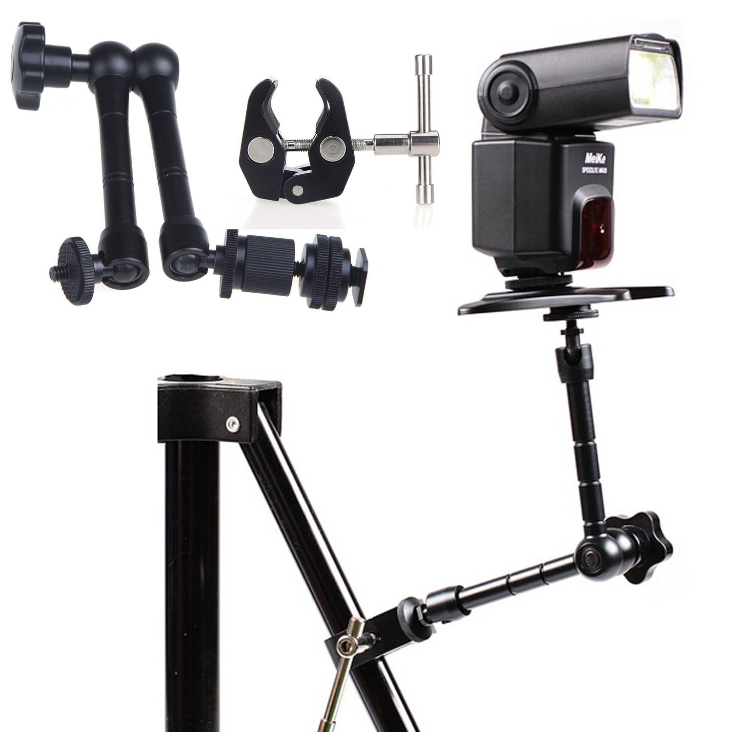 EC™ 11 inch Articulating Magic Arm + Super Crab Clamp Pliers Clip with 1/4'' and 3/8'' for DSLR Rig Camera to Monitor LED