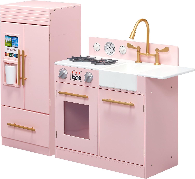 Modern Wooden Kids Play Kitchen Toddler Pretend Play Set with accessories White Teamson Kids