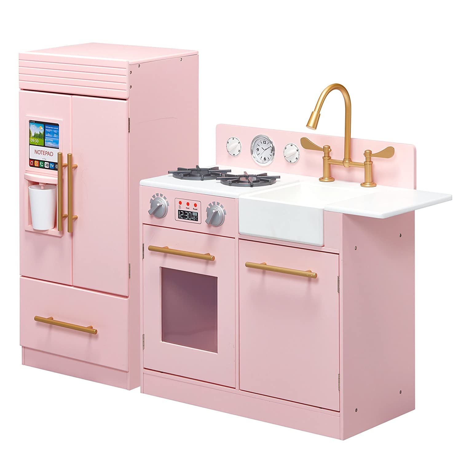 Teamson Kids TD-12302P Modern Play Kitchen with Ice Maker, Pink