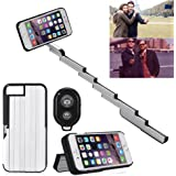 "StikBox Selfie Stick iPhone Case, Extendable Monopod W/ Built-in Bluetooth Trigger, Lightweight, Rechargeable, Wireless, Pocket Size, 360 degree rotation & 20"" Extension for iPhone 7 Plus (Blue)"