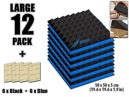 arrowzoom nueva combinación de colores de 12 Pack aislamiento acústico aislamiento pirámide autoadhesivo pared acolchado de