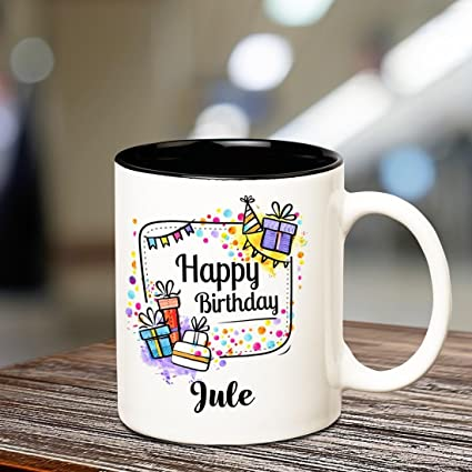 Buy Huppme Ceramic Happy Birthday Jule Coffee Mug 350 Ml Standard Black Online At Low Prices In India Amazon In