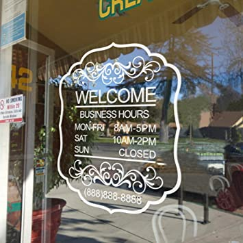 Removable Business Hours And Phone Number Vinyl Door Window Decal - Window decals custom uk