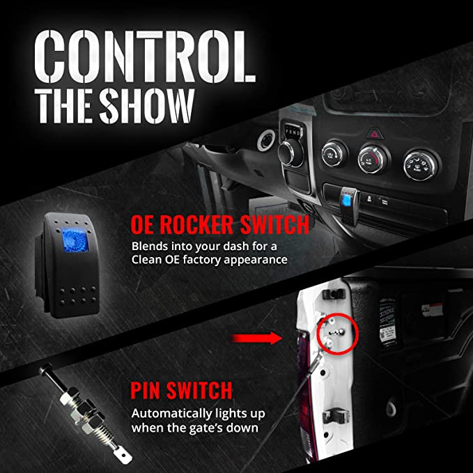 OE-Style Rocker Switch 1 Yr Warranty- iOS /& Android Sound Activated Multi-Color Lights OPT7 Aura PRO Wireless Bluetooth 8pc Truck Bed LED Lighting Kit