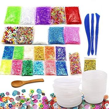 Bespick 40 Unidades Slime fluffy kit de suministros de limo incluyendo bolas de pecera, rebanadas