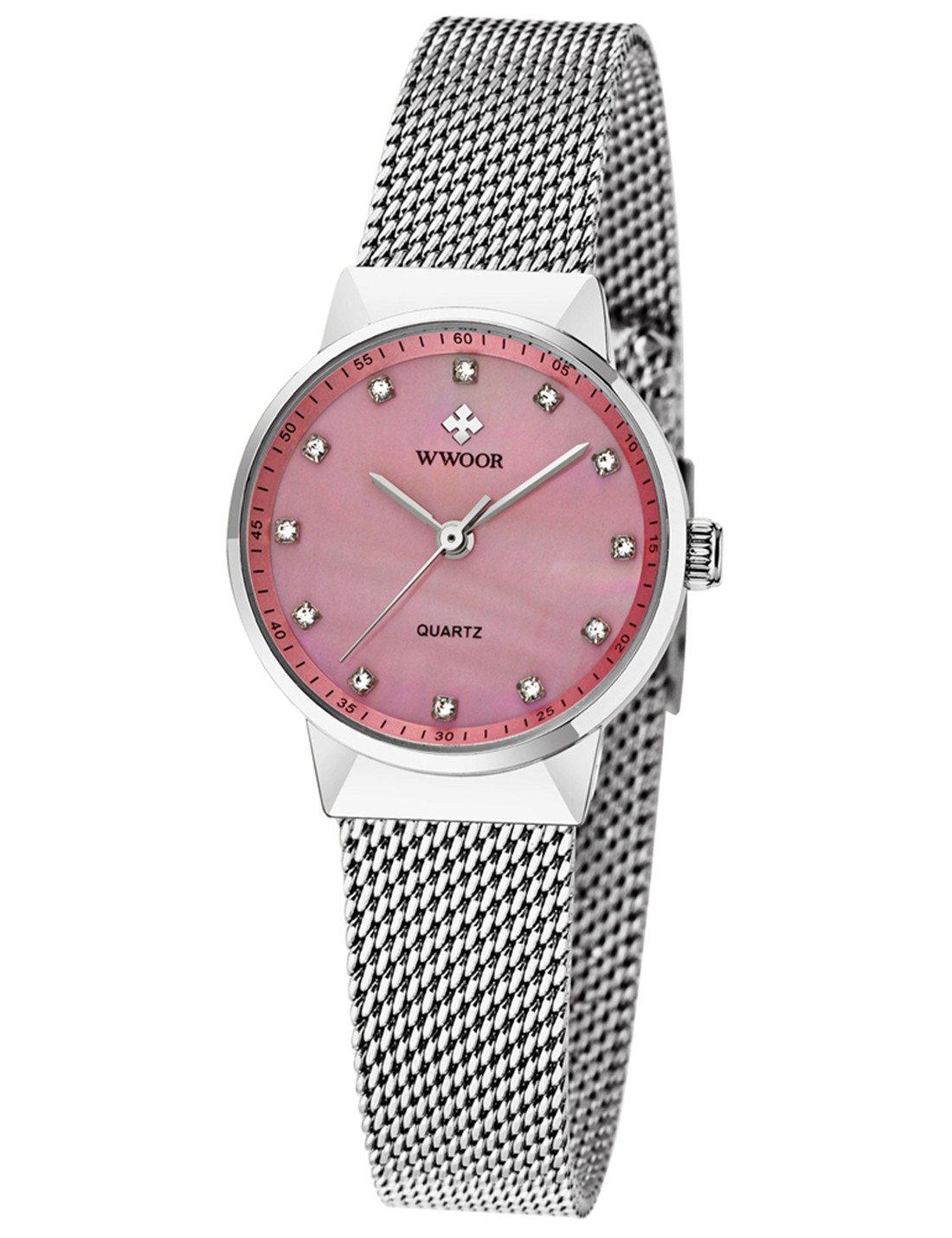 WWOOR Women's Rhinestone Stainless Steel Mesh Band Quartz Watch Casual Business Wristwatch Pink