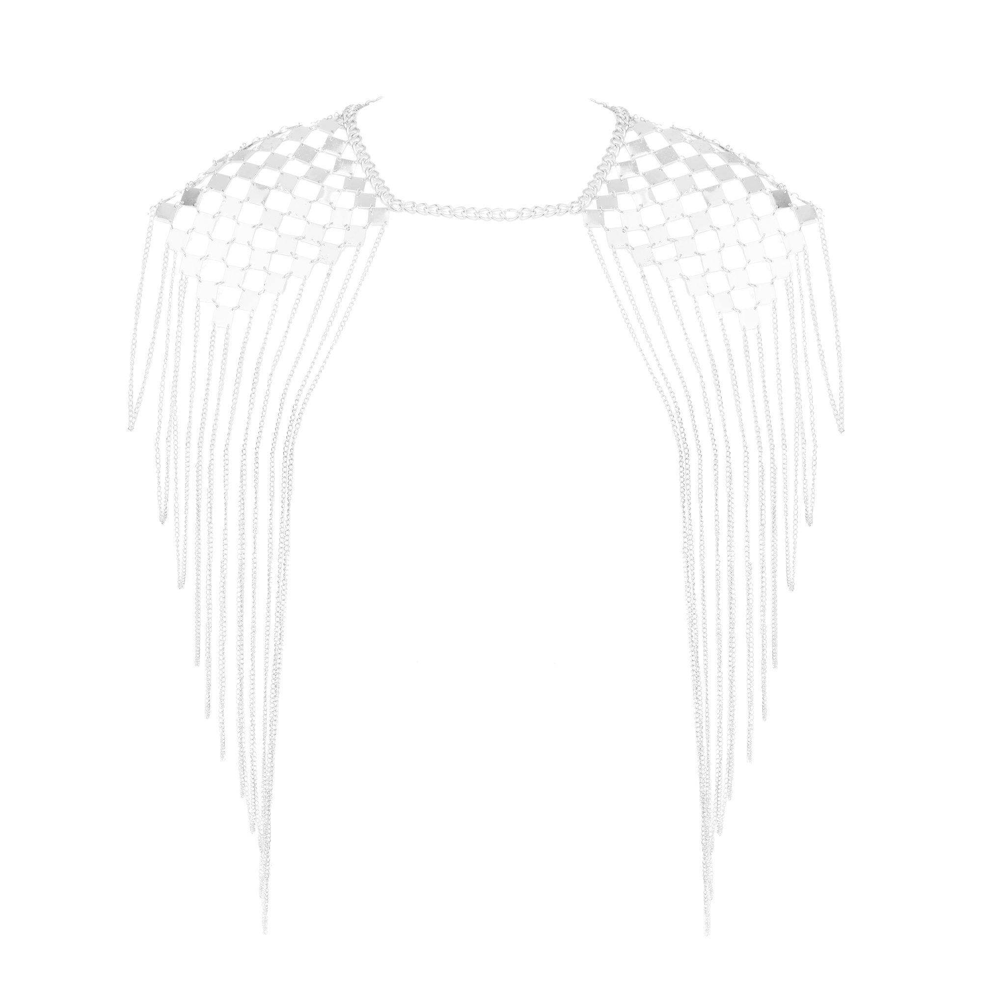 Beauty7 Harness Bikini Body Link Epaulet Shoulder Chain Necklace Collar Dangling Tassel Silver Tone