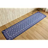 台所 用 キッチン マット B-1 ブルー 約 45×180 cm 丸 洗い 可能 滑り止め 付き プリント タフト カーペット