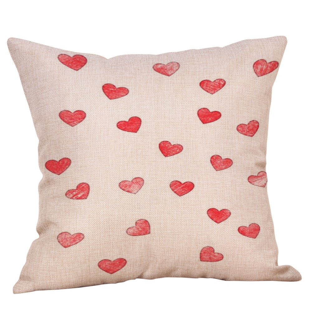 Mome  Home Cushion CoverValentine's Decoration Linen Burlap Decor Outdoor Square Throw Cushion Cover Cushion Case for Living Room Sofa Bedroom Car 18 x 18 Inch 45 x 45 cm (G)