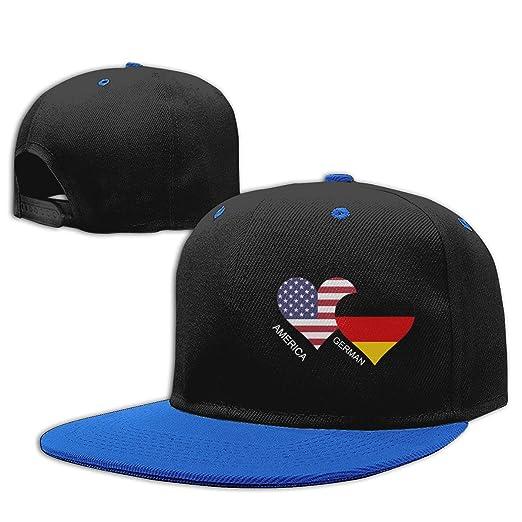 f630ebfd1cc America German Flag Heart Men s Women s Snapback Baseball Cap Adjustable  Flat Brim Hip Hop Cap Blue at Amazon Men s Clothing store