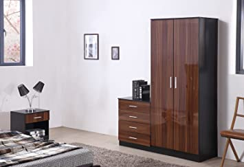 OSSOTTO HIGH GLOSS 3 Piece Bedroom Furniture Set - Includes Soft ...
