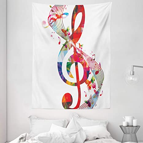 Amazon Com Ambesonne Music Tapestry Artwork With Musical Notes Rhythm Song Ornamental In Vibrant Colors Fantasy Theme Wall Hanging For Bedroom Living Room Dorm Decor 60 X 80 White Red Home Kitchen