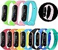 Mardozon 10 Pezzi Cinturini per Xiaomi Mi Band 3, 3 Tipo Luminoso Splendente nel Buio + 3 Tipo Doppio Ccolore + 4 Tipo MonocromatiNco, Sostituzione Braccialetto in Silicone Morbido da Polso