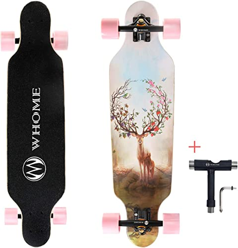 WHOME Longboards Skateboard – 31 Pro Small Longboard Carving Cruising Skateboard – for Adult Youth Kid Beginner Girl and Boy T-Tool Included