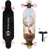"""WHOME Longboards Skateboard - 31"""" Pro Small Longboard Carving Cruising Skateboard - for Adult Youth Kid Beginner Girl and Boy T-Tool Included"""