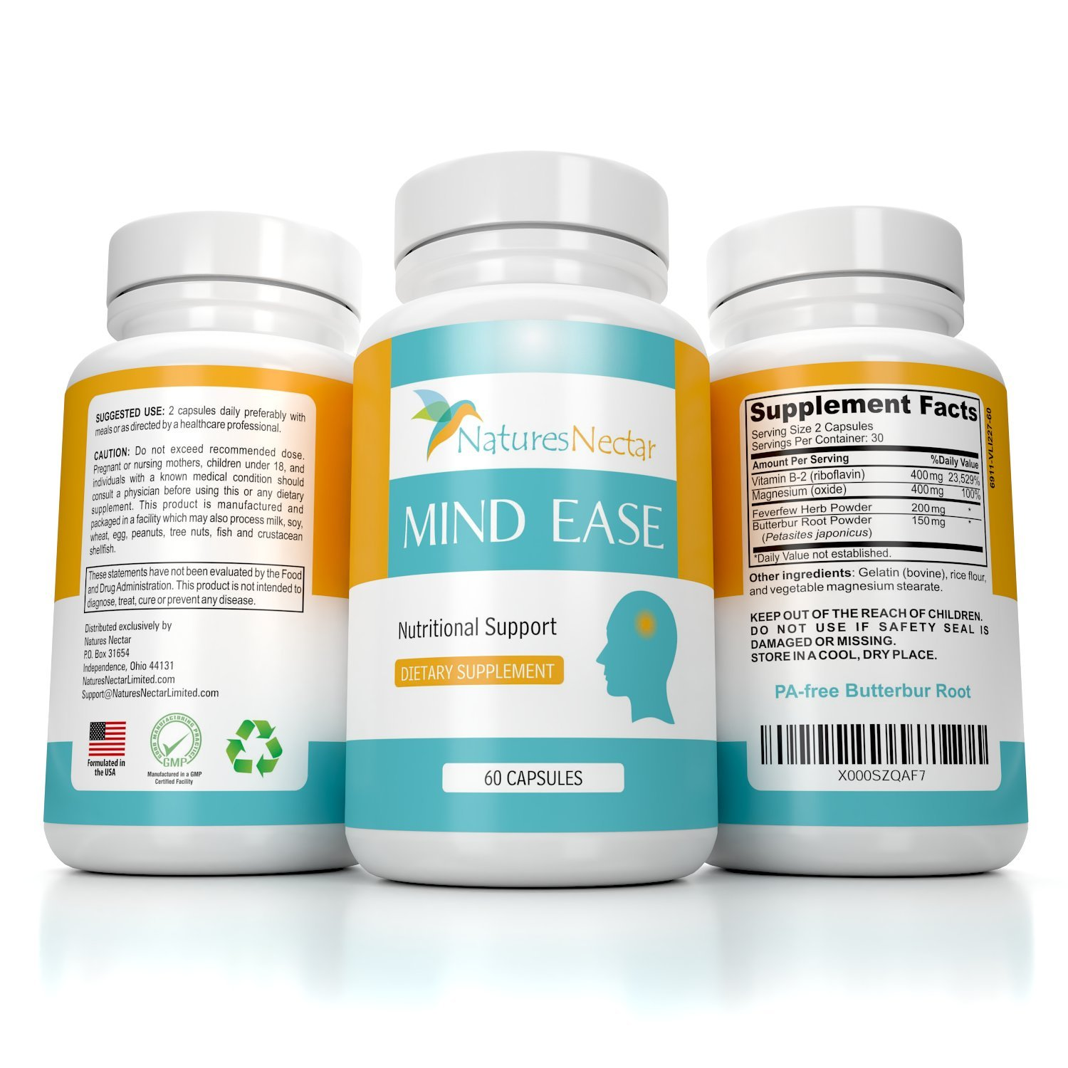 Migraine Relief Supplement - PA Free Butterbur Root, Riboflavin, Magnesium and Feverfew Capsules- Mind Ease's Unique Blend of Original Migraine Supplement Provides Prevention from Migraines Occurring by Natures Nectar