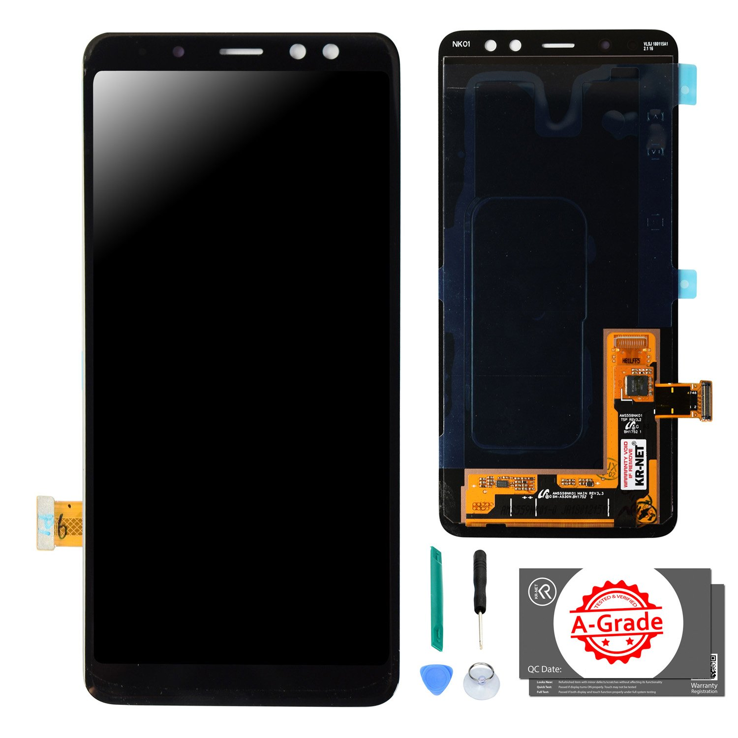 KR-NET LCD Display Touch Screen Digitizer Assembly Replacement for Samsung Galaxy A8 2018 A530, with Adhesive and Tools
