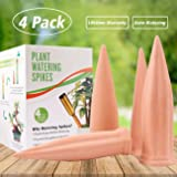 Plant Waterer Self Watering Spikes, Automatic Vacation Plant Watering Devices,Terracotta Wine Bottle Stake Set, Slow Release Self Irrigation Watering System-Perfect for Indoor Outdoor Office Plant (4)